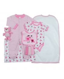 Cutie Pie 9-pc. Baby Layette Set - Pink Birdie