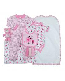 Cutie Pie 9-pc. Baby Layette Set - Pink Birdie
