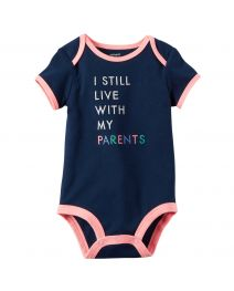 Baby Girl Slogan Bodysuit - Live With My Parents