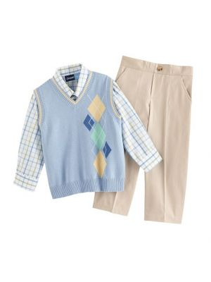 Great Guy Argyle Sweater Vest Set - Light Blue