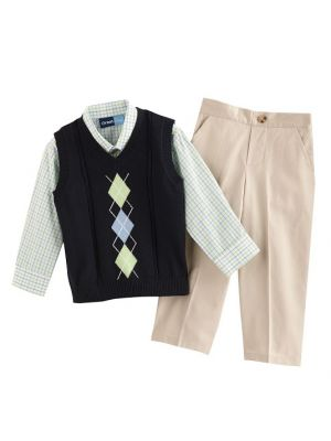 Great Guy Argyle Sweater Vest Set - Navy/Green/Tan
