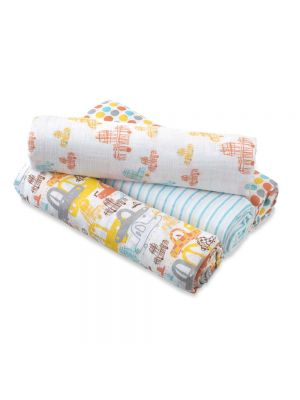 Aden + Anais Muslin Swaddle Wrap by Zutano 4 Pack - Cars