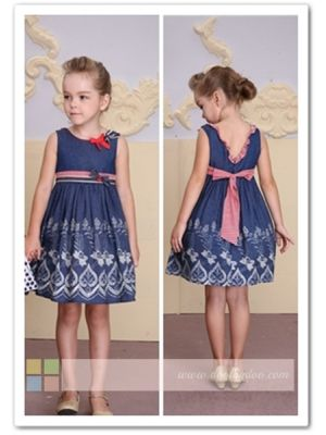 Bonny Billy Girl Dress - Dark Blue Chambray