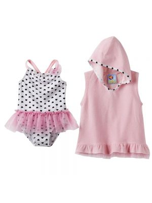 Baby Buns Heart One-Piece Swimsuit & Cover-Up Set