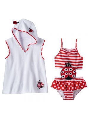 Baby Buns Pink Red Ladybug Swimsuit & White Cover-Up Set