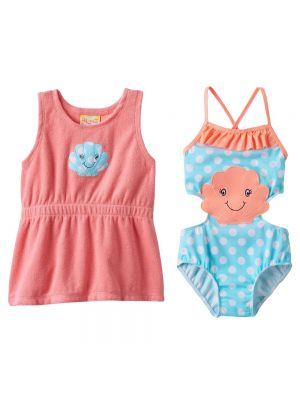 Baby Buns Seashell Monokini Swimsuit & Cover-Up Dress Set