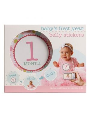 Stepping Stones Baby's First Year Belly Stickers | Pink