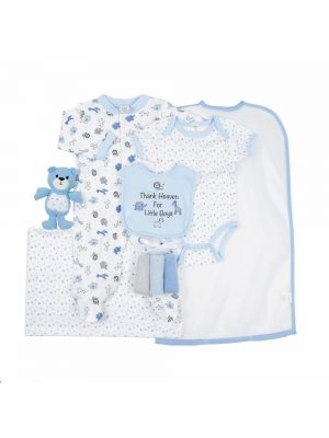 Cutie Pie 9-pc. Baby Layette Set - Blue Wild Animals