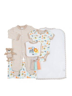 Cutie Pie 9-pc. Baby Layette Set - Tan Wild Animals