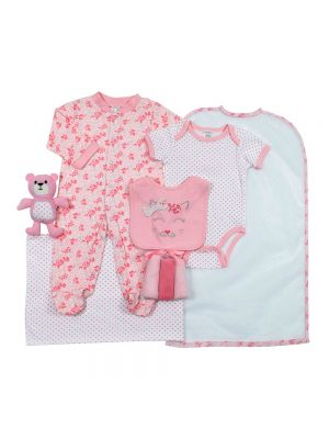 Cutie Pie Baby Girls 9 Piece Layette Gift Set in Tulle Bag 3-6 Months Rainbow