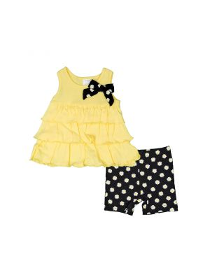 Baby Girl Cutie Pie Tiered Tank Top & Shorts Set