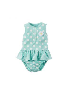 Baby Girl Carter's Polka-Dot Bodysuit (Turquoise)
