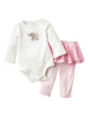 Carter's 2-Piece Long Sleeves Tutu Set - Pink/Elephant