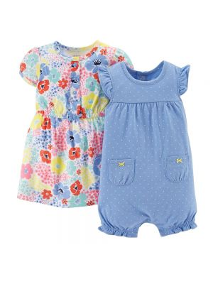 Carter's Flower Polka-Dot Romper & Dress Set
