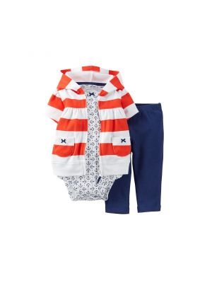 Carter's Rugby Stripe Nautical Hooded Cardigan Set