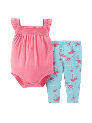 Carter's Baby Girl Smock Bodysuit & Pants Set - Flamingo