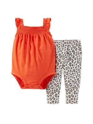 Carter's Baby Girl Smock Bodysuit & Pants Set - Leopard