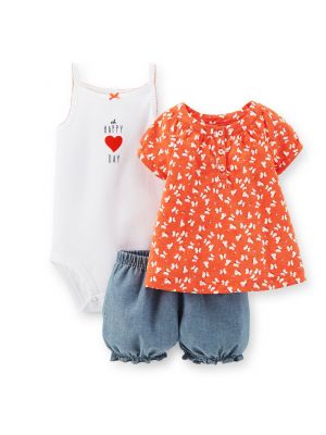 Carter's 3-Piece Bodysuit And Short Set - Butterfly