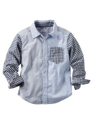 Carter's Pattern-Block Button-Front Shirt - Blue