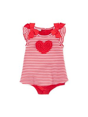 First Impressions Baby Girls' Striped Heart Sunsuit