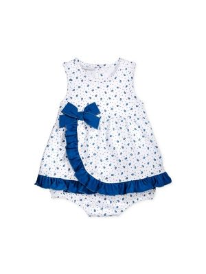 First Impressions Baby Girls' Ditsy Sunsuit - White/Blue