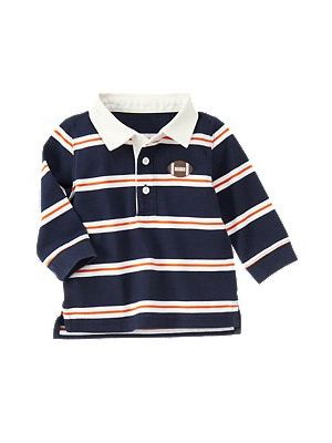Navy Stripe Football Polo Shirt