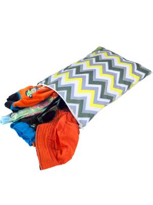Itzy Ritzy Medium Sealed Wet Bag - Sunshine Chevron