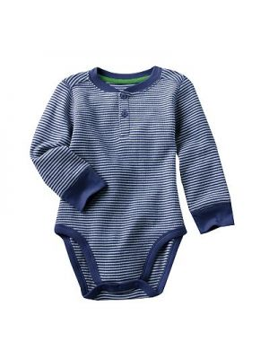 Navy Striped Henley Bodysuit