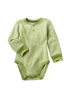Green Striped Henley Bodysuit