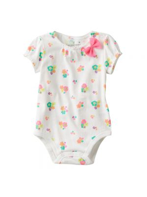 Jumping Beans Bow Bodysuit - White Flowers