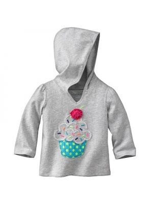 Grey Hooded Shirt - Cupcake