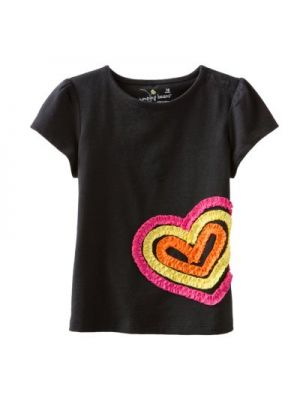 Jumping Beans Black Tee - Ruched Heart