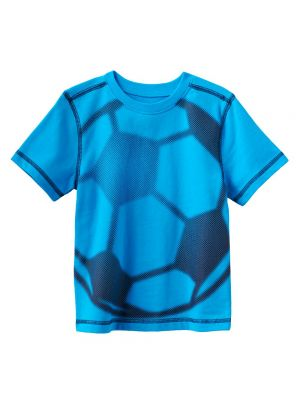 Jumping Beans Contrast-Stitch Sports Tee - Blue Soccer Ball