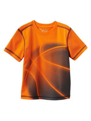 Jumping Beans Contrast-Stitch Sports Tee - Orange Basketball