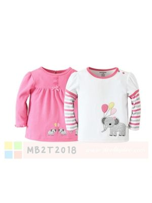 Mom And Bab Top 2pk - Pink Elephant