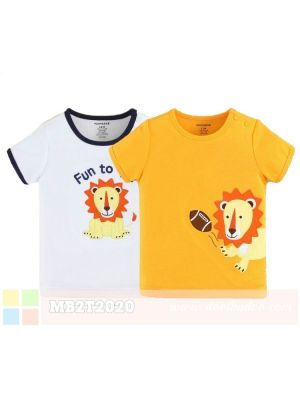 Mom And Bab Short Sleeve Top 2pk - Fun Lion