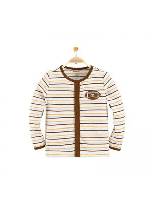 Mom and Bab Striped Cardigan - Brown