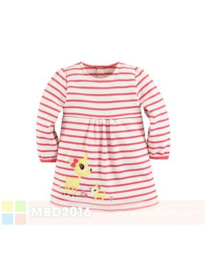 Mom And Bab Long Sleeve Dress - Pink Striped Deer
