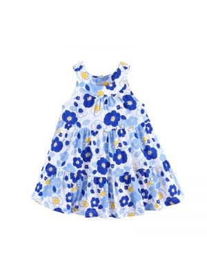 Mom And Bab Printed Sundress - Blue Flowers