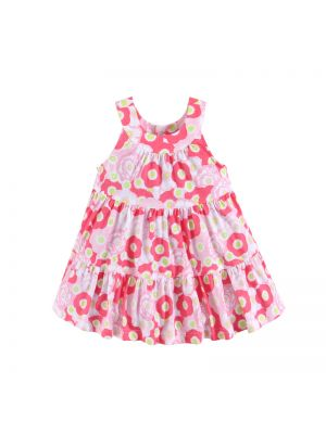 Mom And Bab Printed Sundress - Pink Flowers
