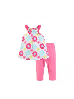 Mom And Bab Daisy Collection - Rose Woven Top & Legging Set