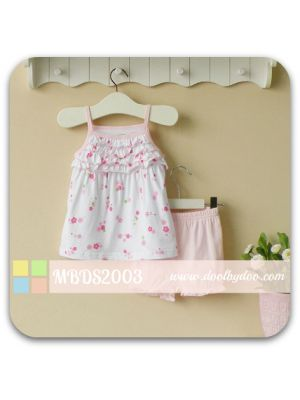 2-piece Bloomer Shorts Set - Pink Flowers