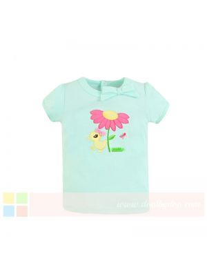 Mom And Bab Eden Collection - Light Cyan Bow Tee