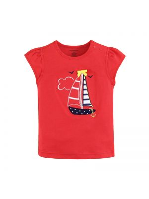 Mom And Bab Navigation Collection - Red Flutter Sleeve Top