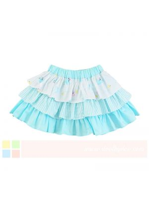 Mom And Bab Sea Lion Collection - Blue Tiered Summer Skirt