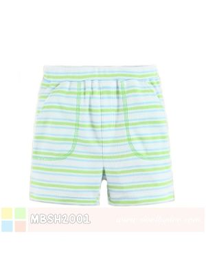Mom And Bab Short Pants - Green Blue Stripes