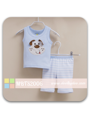 Mom And Bab Muscle Tee Set - Puppy Blue