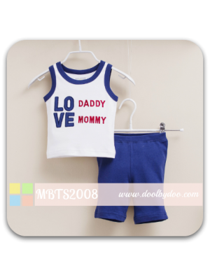 Mom And Bab Muscle Tee Set - Love White
