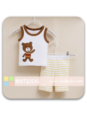 Mom And Bab Muscle Tee Set - Bear White