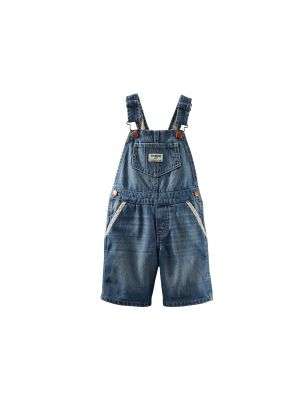 OshKosh B'gosh Floral Trim Denim Shortalls